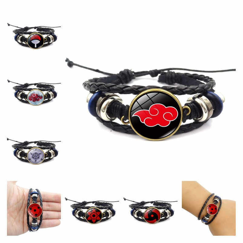 Novo naruto uchiha itachi cosplay acessórios akatsuki sasuke sharingan rinnegan pulseira de metal duplo enrolamento pulseira jóias