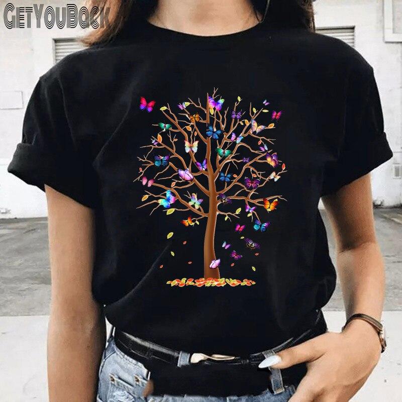 Women Funny Butterfly Print Black T-shirt Summer Girl Harajuku 90S Tops Tee Female Cute Clothes,Drop Ship