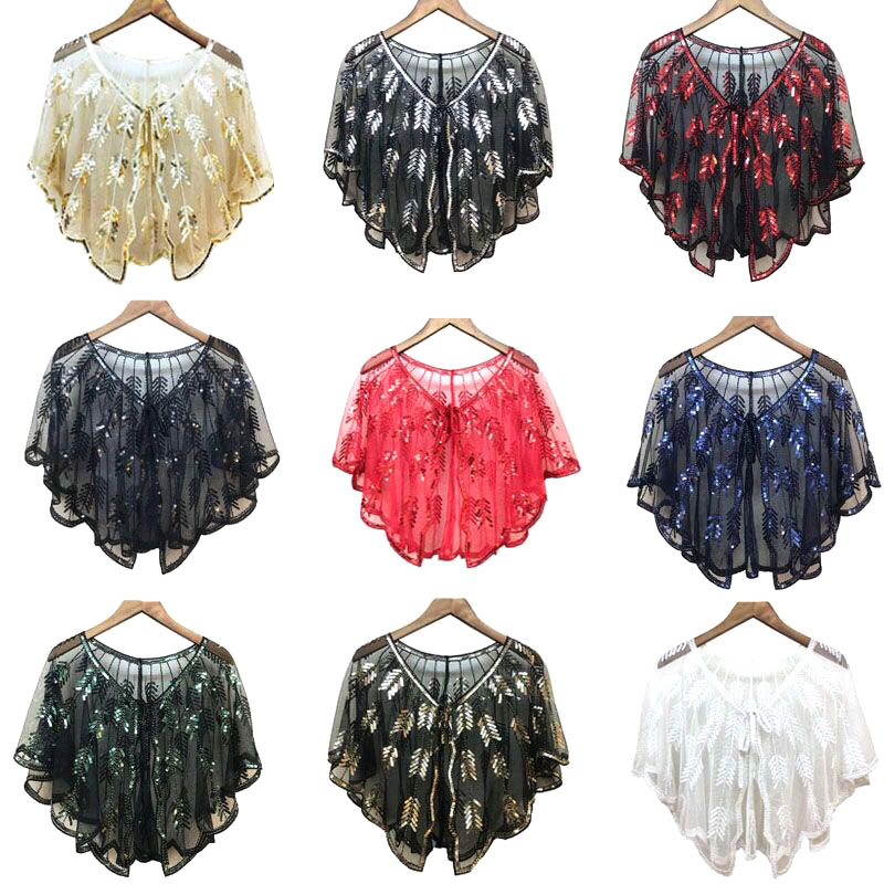 9 Colors Sequined Bridal Bolero Shawls Tulle Beaded White Wedding Cape For Evening Party Dress Women Bolero Coat Jacket Wraps