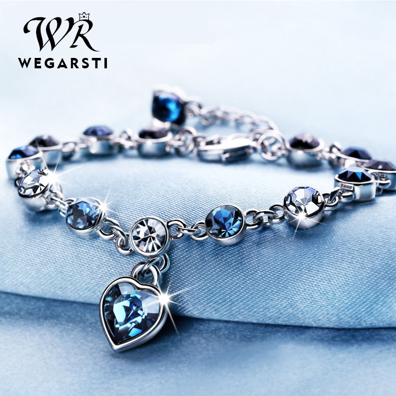 Genuine 925 Sterling Silver Heart Bracelets For Women Blue Sapphire Tanzanite Chain Bracelet Trendy Wedding Gift Fine Jewelry