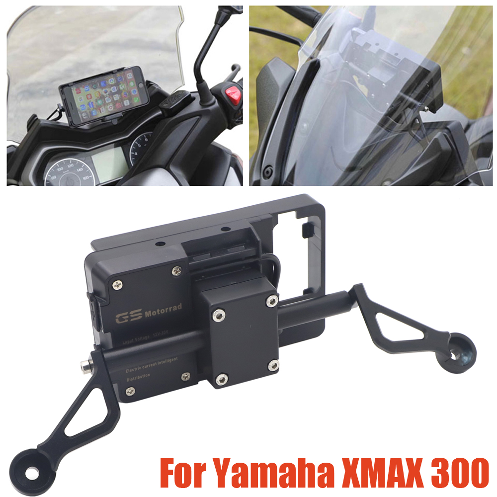 NEW Motorcycle Front <font><b>Phone</b></font> Stand <font><b>Holder</b></font> Smartphone <font><b>Phone</b></font> GPS Navigaton Plate Bracket For Yamaha <font><b>XMAX</b></font> <font><b>300</b></font> XMAX300 X MAX <font><b>300</b></font> image