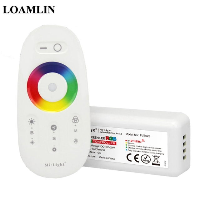 Milight FUT025 2.4G RF Wireless Touch Screen RGB LED Controller DC12-24V 18A RF Remote Control for RGB LED Strip
