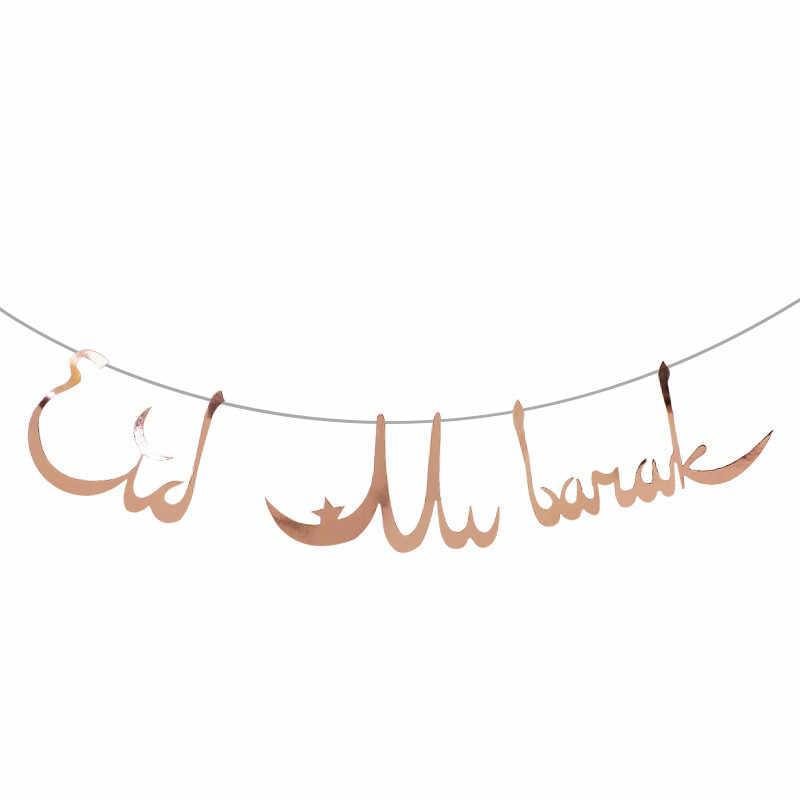 Chicinlife 1 Bộ RoseGold/Vàng EID Mubarak Biểu Ngữ Ramadan Trang Trí Hồi Giáo Hồi Giáo Lễ Hội EID Đảng Bunting Vòng Hoa Cung Cấp
