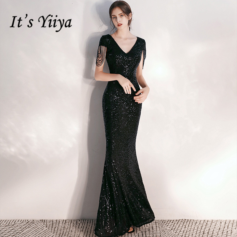 It's Yiiya Evening Dresses Black Sequined Shining Beading Evening Gowns Short Sleeve Elegant Mermaid Drees Robe De Soiree K050