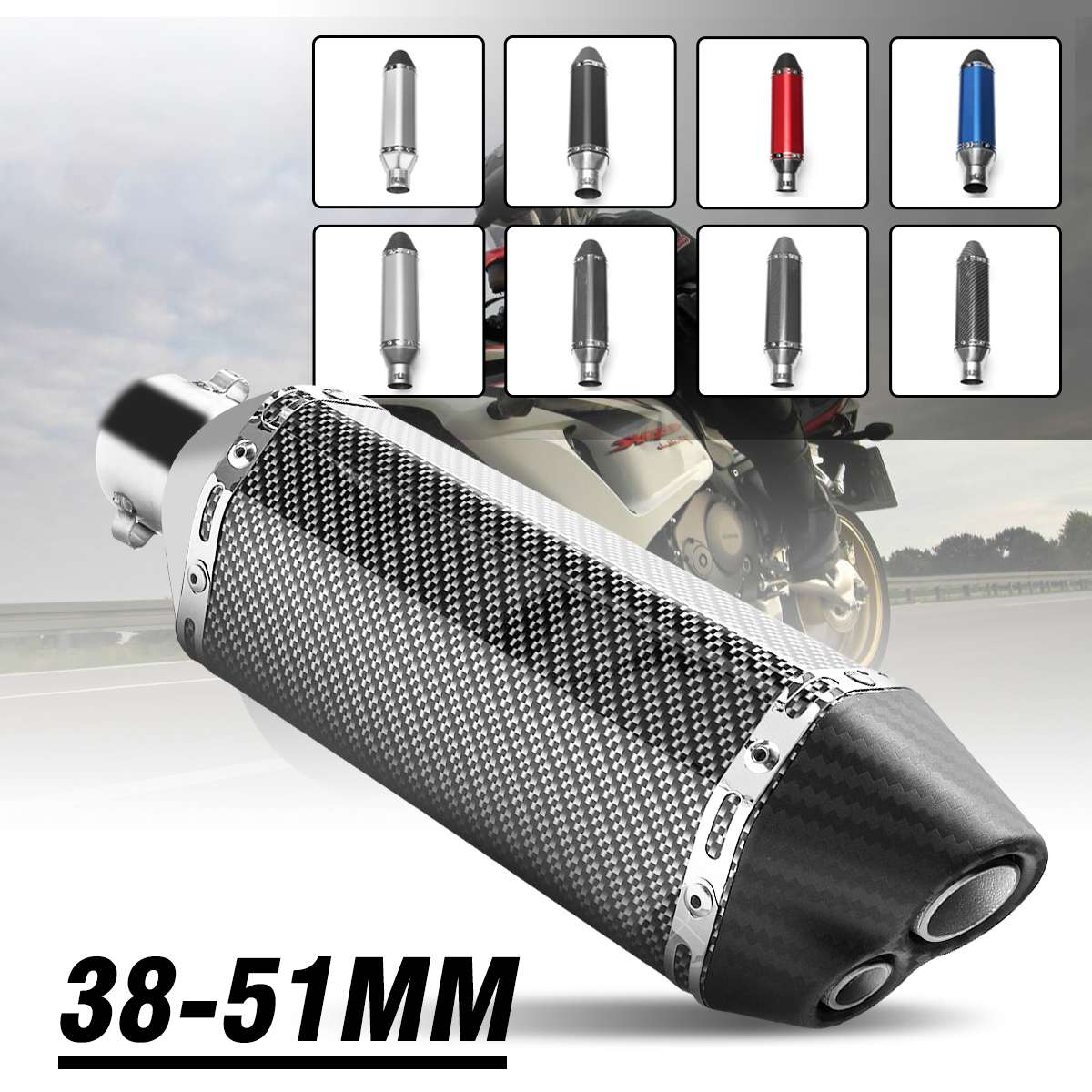 38-51mm 365mm Carbon Stainless Steel Motorcycle <font><b>Exhaust</b></font> Muffler Pipe Double Air Outlet For R6 Z650 MT07 Z900 CBR1000 KTM <font><b>R3</b></font> R25 image