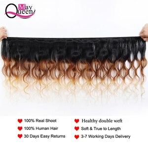 Image 2 - Può queen hair Ombre Brasiliano Onda Del Corpo 3 & 4 Pezzi T1B/4/27 Tre Tonalità di Colore Dei Capelli di Remy estensioni 100% Dei Capelli Umani Del Tessuto Bundles