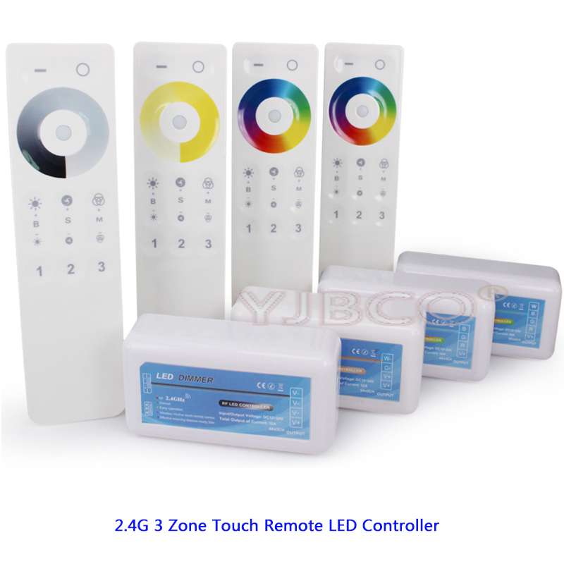 2.4G 3 Zone Touch Remote dimmer Receiver Single Color/Color Temperature/RGB/RGBW/RGB CCT LED strip controller Set DC12V-24V