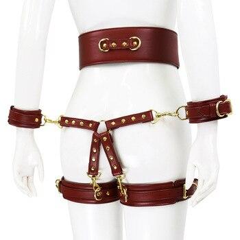 Bdsm Sklave Bondage Leder Seil mit Cross Lock Handschellen Bein Gürtel für Männer & Frauen 1