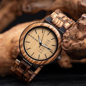 Image 3 - Bobo Vogel Mannen Horloge Automatische Datum Week Display Hout Horloges Mannelijke Uurwerken Quartz Horloges Relogio Masculino Gift