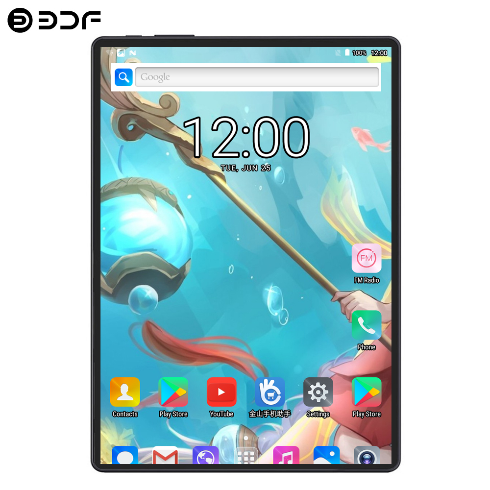 BDF 10 Inch Android 9.0 Tablet Pc 8GB+128GB Ten Core 1280*800 IPS Tablet Laptop Bluetooth Dual Camera 3G/4G LTE Phone Tablet 10