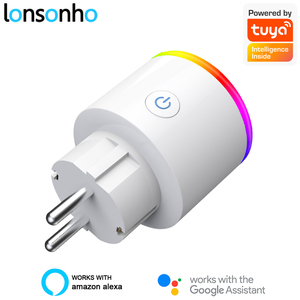 Умная розетка Lonsonho Tuya, Wi-Fi, ЕС, тип F, 16 А, монитор питания, беспроводное управление, совместим с Alexa Google Home Mini