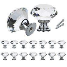 10 pièces/ensemble 30mm diamant forme Design cristal verre boutons placard tiroir tirer armoires de cuisine porte armoire poignées matériel