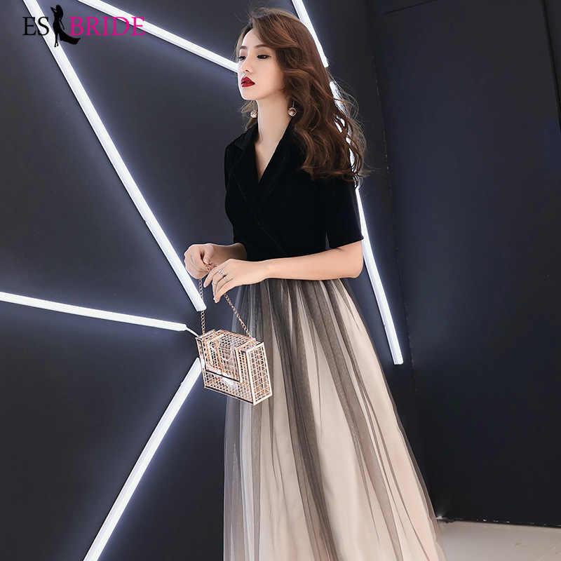 Vestidos formais femininos elegante moda a linha vestidos de noite longos rendas sexy com decote em v vestidos de festa vestidos de noite plus size es1880