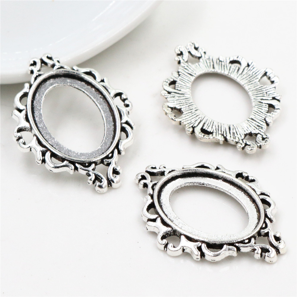 10pcs 18x25mm Inner Size Antique Silver Plated Style Cameo Cabochon Base Setting Charms Pendant Necklace Findings  (C2-03)