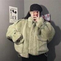 Faux Fur Coat Women 2019 Casual Hoodies Furry Thick Warm Long Faux Lamb Fur Jacket Loose Winter Coat Women teddy coat