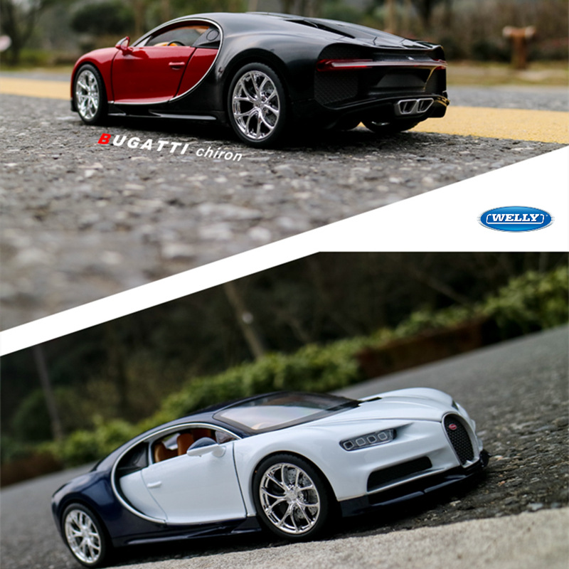 Welly 1:24 Bugatti Chiron Car Alloy Car Model Simulation Car Decoration Collection Gift Toy Die Casting Model Boy Toy
