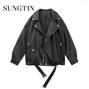 Sungtin Women Loose Pu Leather Jacket Black Soft Faux Leather Jacket Street Moto Biker Leather Coat Jacket Lady Casual Outerwear