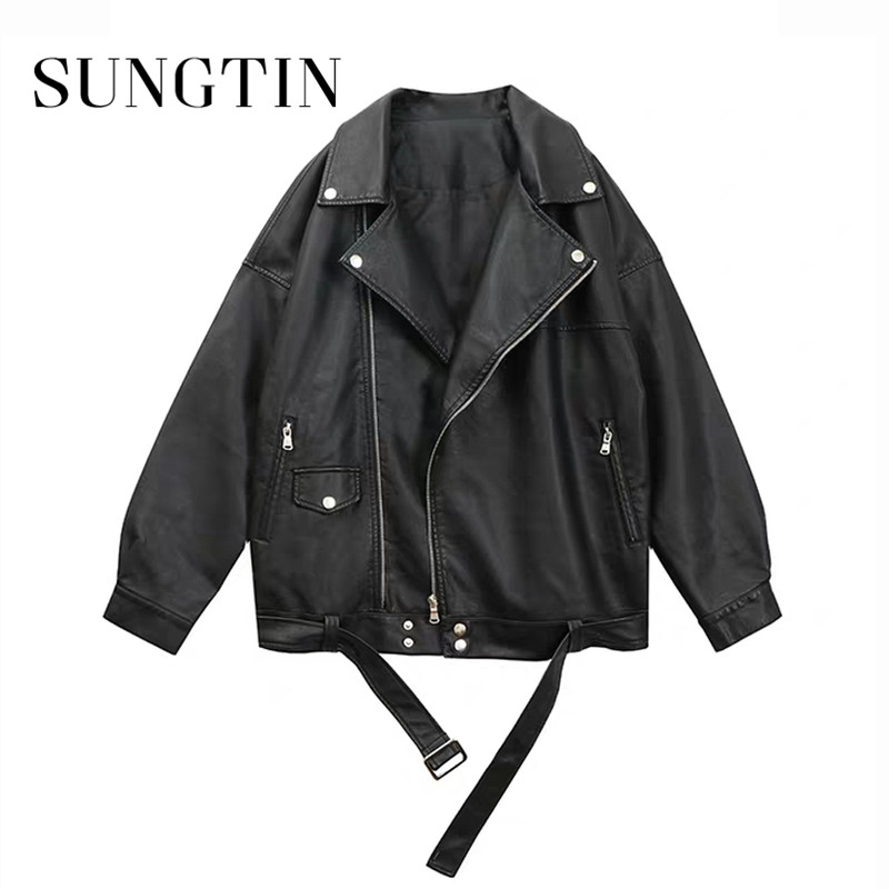 Sungtin Women Loose Pu Leather Jacket Black Soft Faux Leather Jacket Street Moto Biker Leather Coat Jacket Lady Casual Outerwear Leather Jackets  - AliExpress