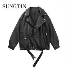Sungtin femmes veste en cuir Pu en vrac noir veste en simili cuir souple rue Moto Biker en cuir manteau veste dame vêtements d'extérieur décontractés