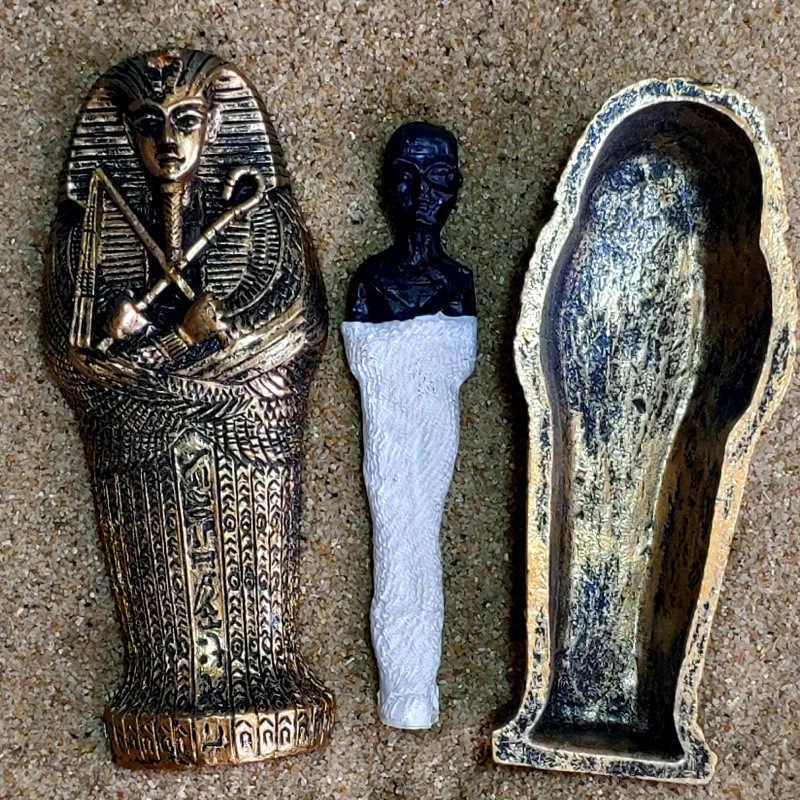 Mesir Raja Firaun Sarkofagus Peti Mati dengan Mumi Patung Patung Miniatur Sandplay Dekorasi Miniatur Model Dekorasi Rumah