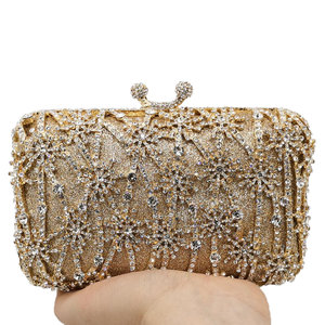 Image 2 - Boutique De FGG Hollow Out Flower Clutch Minaudiere Bag Women Crystal Evening Bags Wedding Party Dinner Floral Handbags Purses