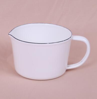 Эмалированный мерный стакан со шкалой молока может кофе чашка воды - Цвет: A3