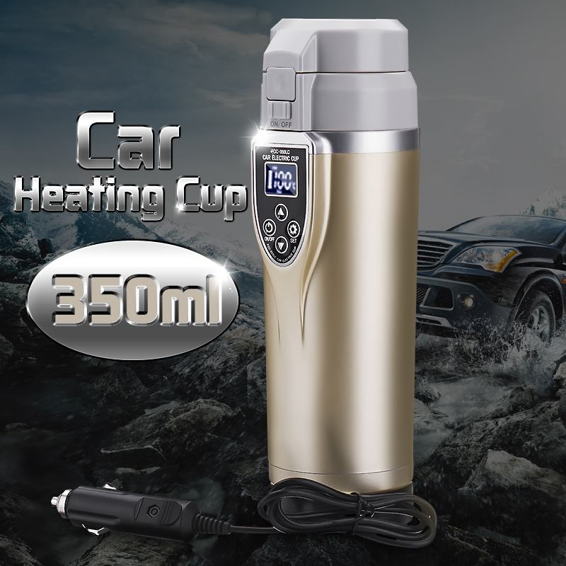 350ml 12V/24V Intelligent Vehicle Heating Cup Car Auto Electric Heating Cup Adjustable Temperature Electric Kettle Boiling Mug