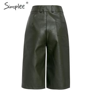 Image 4 - Simplee Pu leather pants women chic High waist motocycle female sexy half pants Autumn winter ladies party club wear bottom 2019
