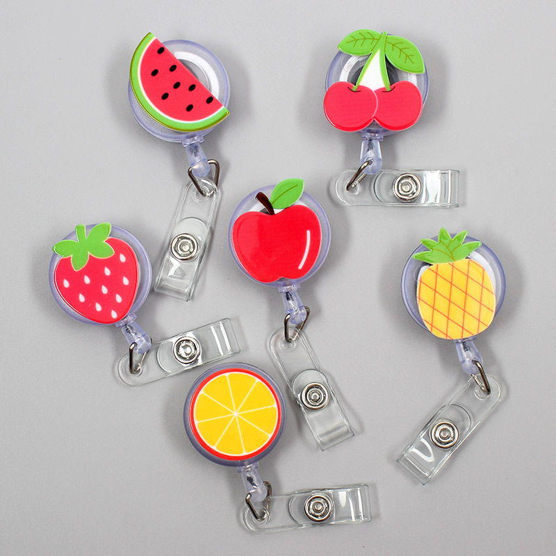 Creative Fruits Strawberry Resin Retractable Badge Reel Nurse Doctor Student Exhibition ID Card Clips Badge Holder Stationery