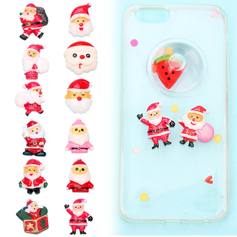 10 PCS Christmas Decoration Socks Santa Claus Xmas Tree Jingle Bell Resin Ornament DIY Toy High Quality