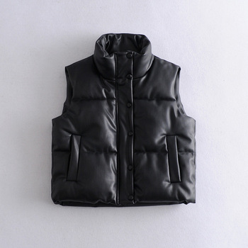 2021 Autumn Winter Women Black Faux Leather Jackets Fashion Zipper Sleeveless Coat Tops Female Casual Warm Outwear Ladies 4