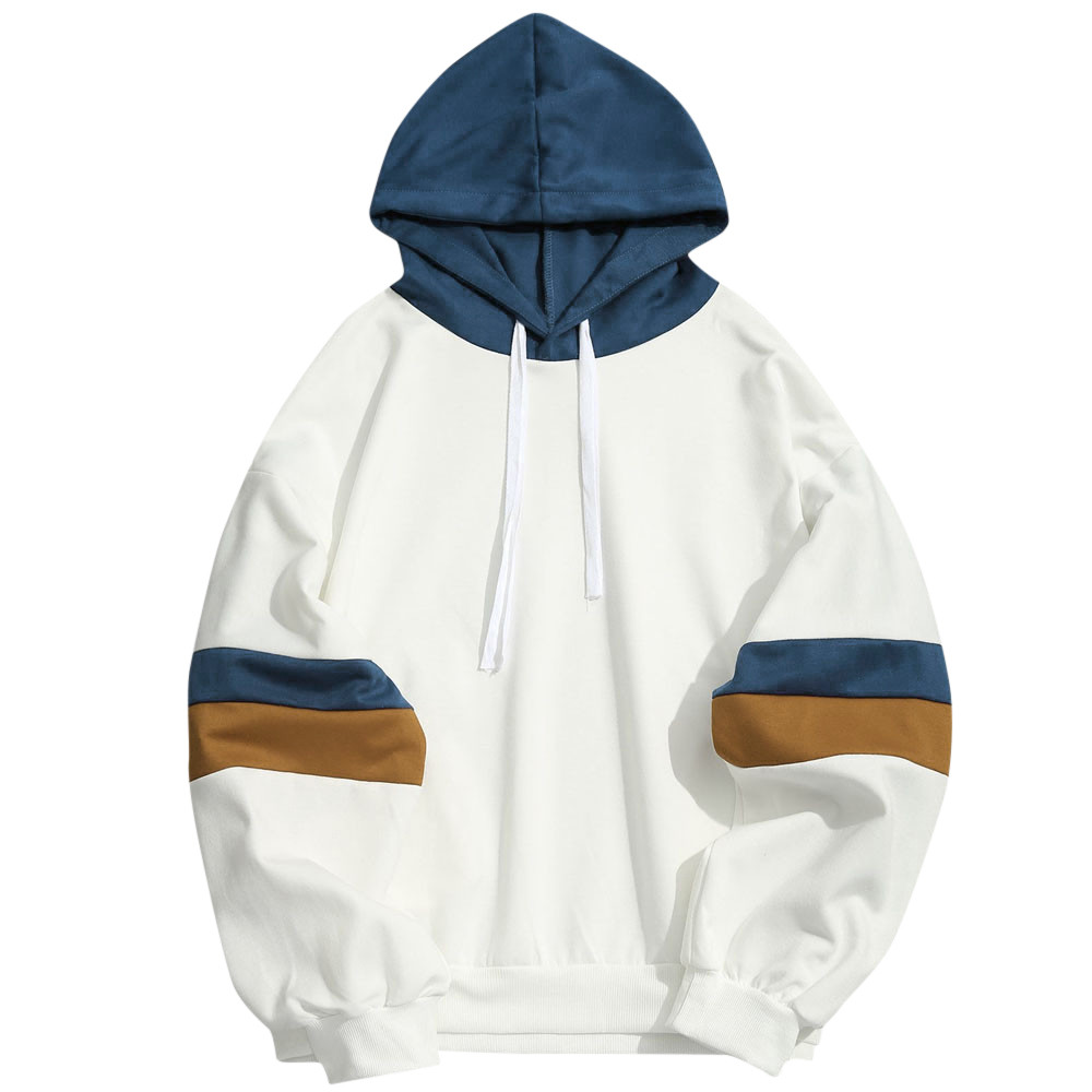 Fashion Mens Casual Patchwork Slim Fit Hoodie Outwear Blouse Sweatshirt Pullover