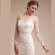 Scoop Neck Long Sleeve Wedding Bolero Appliques Custom Made Sheer Wedding Wraps Coat Buttons Back Bridal Jacket