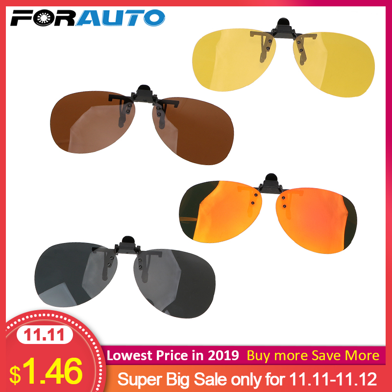 FORAUTO Anti-UVA UVB Driver Goggles Clip On Sunglasses Car Driving Night Vision Lens Polarized Sun Glasses For Men Women