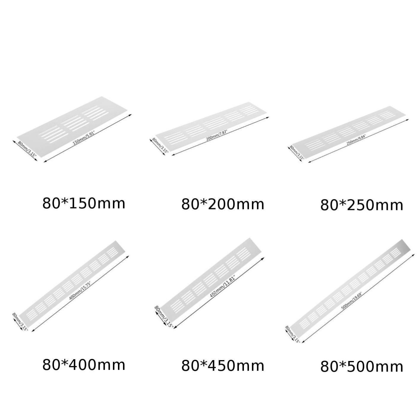 Alloy Rectangular Air Vent Grille Ventilation Cover For Cabinets Wardrobes
