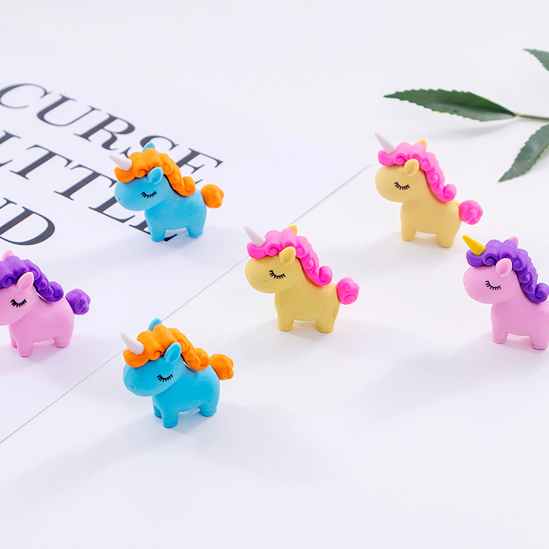 1Pc Kawaii Fat Unicorn Rubber Eraser Cute Pencil Eraser Cartoon Mini Eraser For Kids Girls School Stationery Correction Supplies