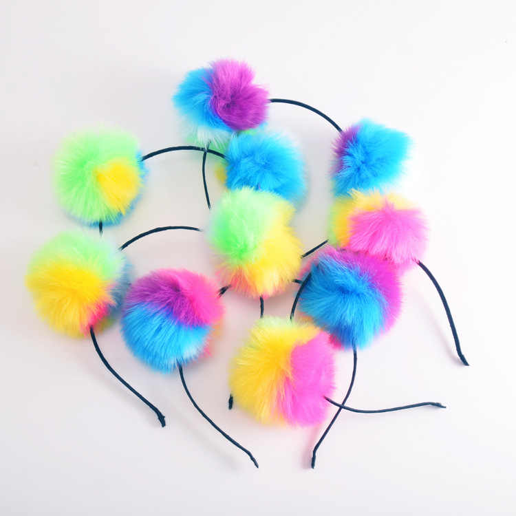 Colorful Fluffy Fur Ball Headband Kids Girls Women Princess Headdress Hair Accessories Birthday Party Pompon Headwear Gift