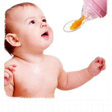 Baby Rice Cereal Spoon Squeeze Type Silicone Newborn Soft Dinnerware Food Supplement