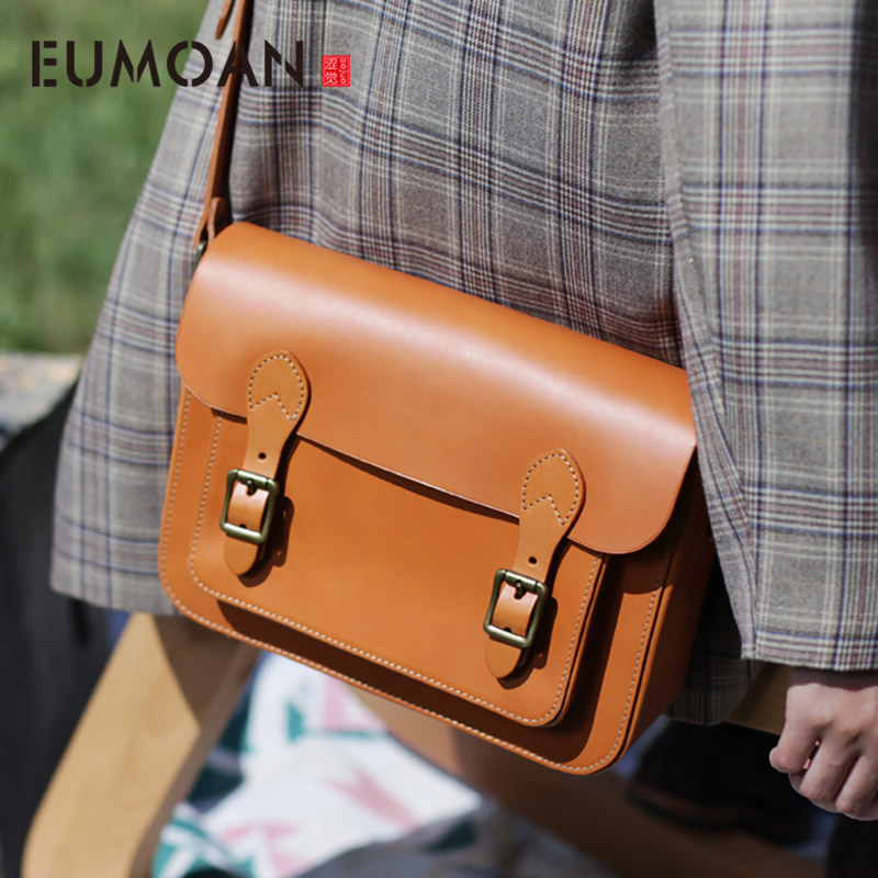 EUMOAN British style classic vintage postman bag, stylish stiletto bag, large capacity shoulder bag