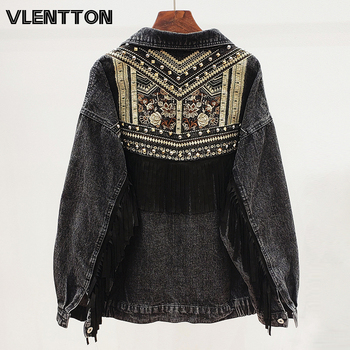 2020 Spring Black Vintage Embroidery Print Denim Jacket Women Suede Tassel Casual Loose Jean Coat Female Outwear Chaqueta Mujer