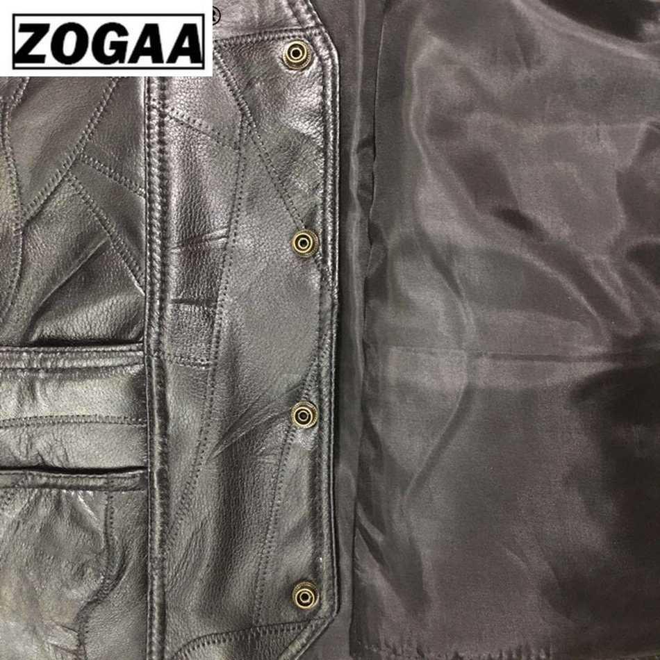 Zogaa Motor Rompi Kulit Pria Hitam Rompi Pria Biker Punk Kulit Asli Tombol Renda Musim Gugur Tanpa Lengan Jaket Pria