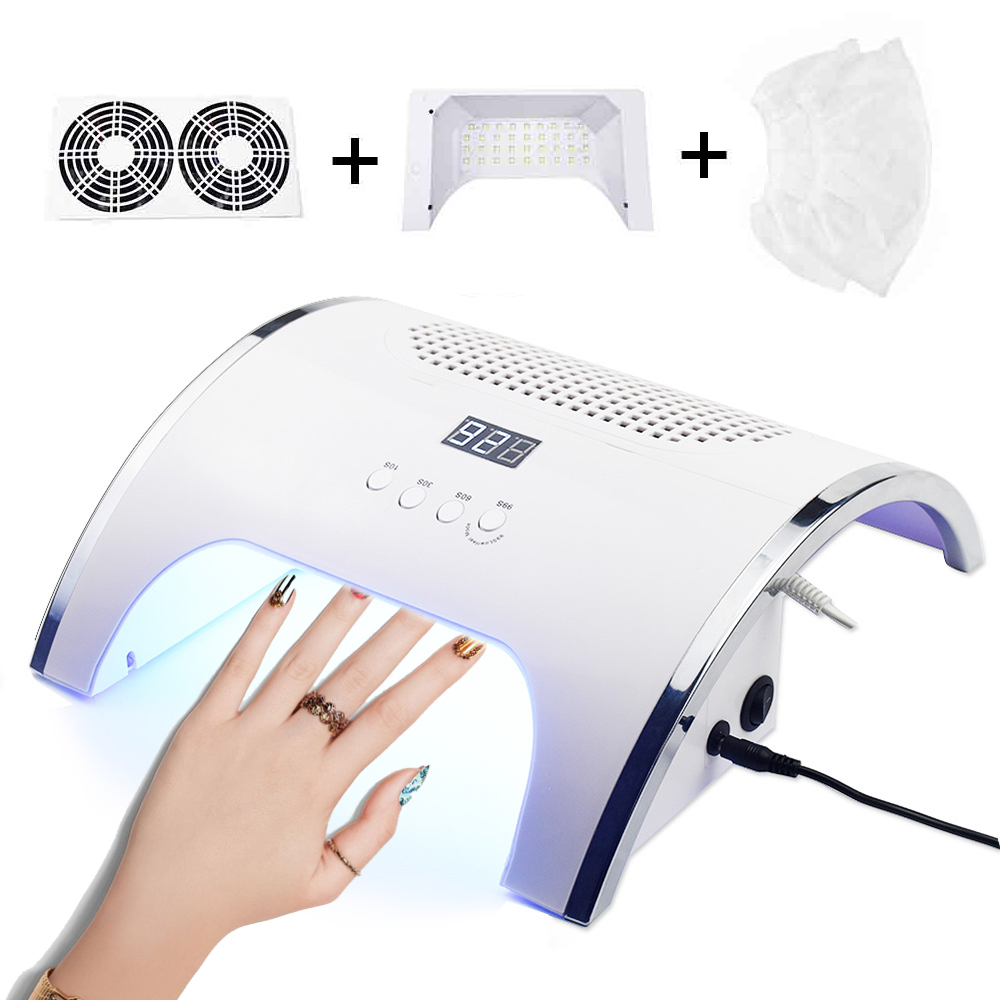 <font><b>80W</b></font> 2 In 1 Strong Vacuum Nail Suction Duct Collector With <font><b>UV</b></font> <font><b>LED</b></font> Nail <font><b>Lamp</b></font> and 2 Fan Vacuum Cleaner For Manicure Tool image