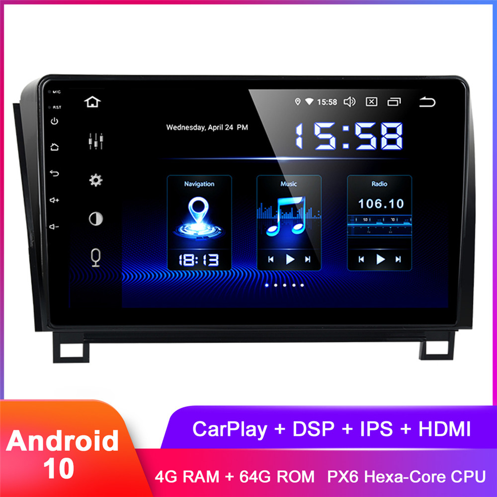 10.2 IPS Display Android 10 Car Stereo GPS For Tundra 2007+ Sequoia 2008+ Carplay In Dash Auto Radio FM WiFi DSP Audio Video image