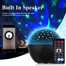 Colorful Starry Sky Galaxy Projector + Remote Control Music Player Speaker LED Night Light Lamp Novelty Lighting Children Gifts