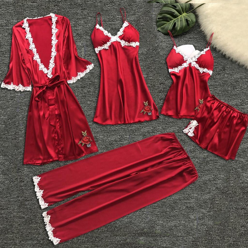 Women Gown Set Night Dresses Erotic Underwear Sexy Silk Satin Nightdress V-Neck Night Wear Sleepwear Dress 5PC Suit 7/24