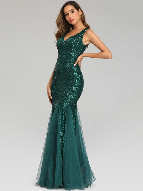 Plus Size V Neck Mermaid Cocktail Dress Long Formal Prom Party Gown Sequins Sleeveless Robe De Soriee Sexy Evening Vestido De 5