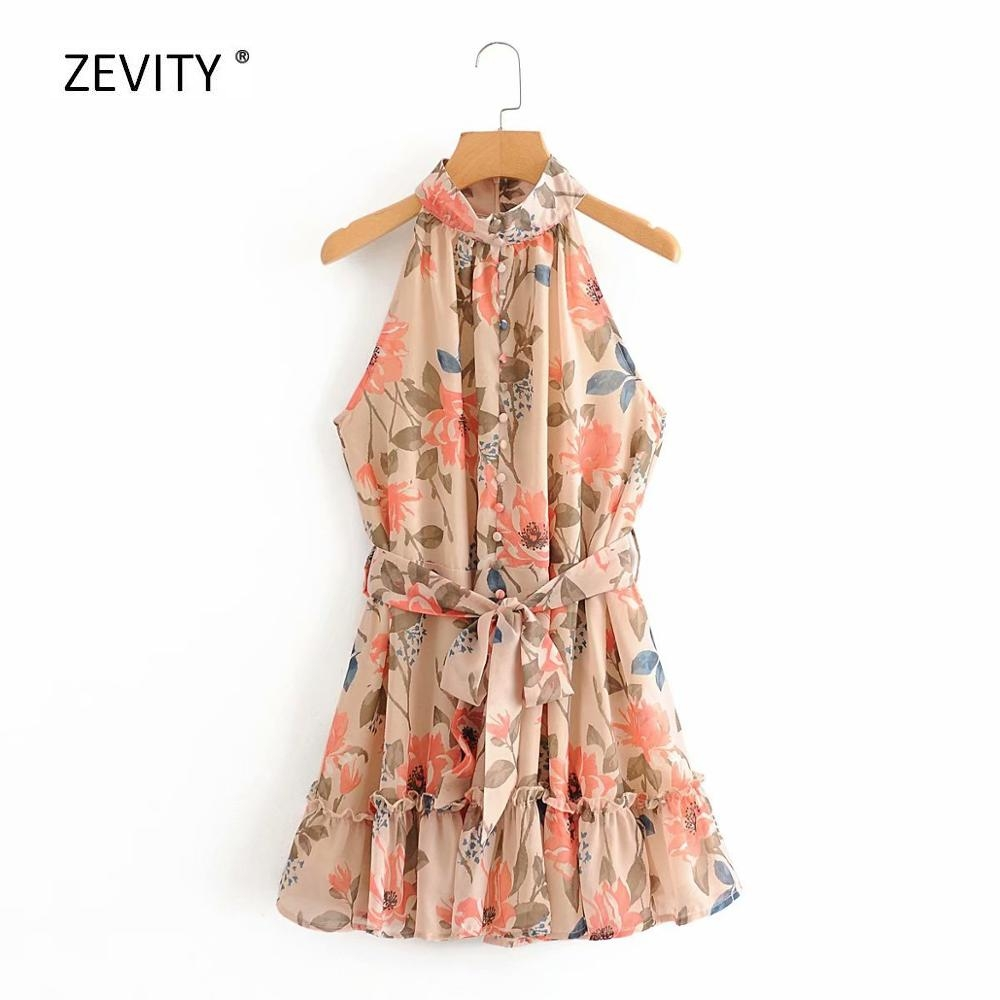 New 2020 women sleeveless flower print hem ruffles mini dress female stand collar bow sashes vestidos chic casual dresses DS3895