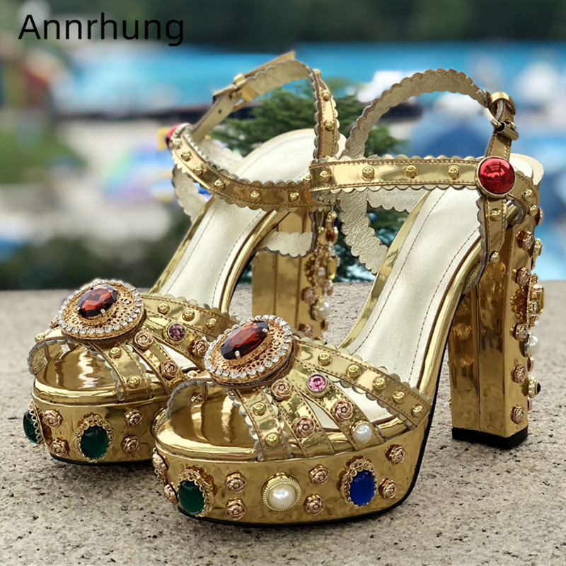 Jeweled Rhinestone Chunky Heel Sandals Women Ankle Strap High Platform Crystal Diamond Metal Decor Party Shoes Woman