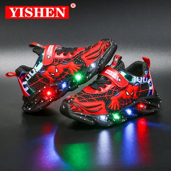YISHEN Led Luminous dzieci buty dla chłopców dziewcząt lekkie dzieci Luminous dziecięce trampki Mesh sport chłopiec dziewczyna Cartoon Led lekkie buty tanie i dobre opinie STRONGSHEN 4-6y 7-12y 12 + y Siateczka (przepuszczająca powietrze) CN (pochodzenie) CZTERY PORY ROKU oddychająca Zwiększające wysokość