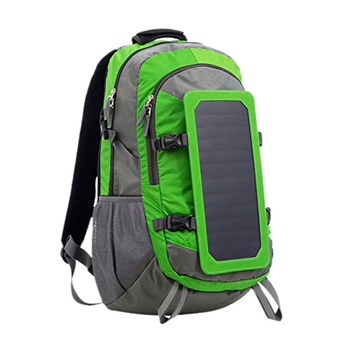 Solar Backpack With Removable Solar Panel Multifunctional Solar Bag For Travel Camping Hiking Green